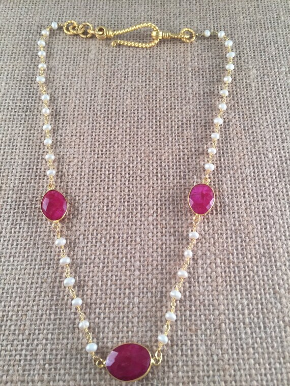 "Pearl Beaded Rosary Type Chain Necklace, Choice of Ruby, Sapphire, Emerald, Turquoise, Amethyst or Pearl, Gold Hook Clasp, 18"" to 24"" long."