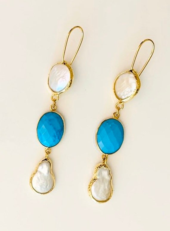 Turquoise & Pearl long Dangle Earrings