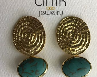 "Turquoise Earring, Gold Disc Post, Matte Gold Plated,Sterling Silver back post. 1.5"" Long"