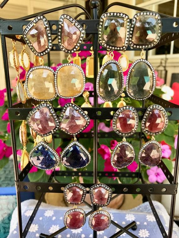 Sapphire Earrings, CZ Pave Bezel, 925 Sterling Silver Gold Plated, Rose Cut Earring, Multy Sapphire Earring, Vermeil, Post Earring.