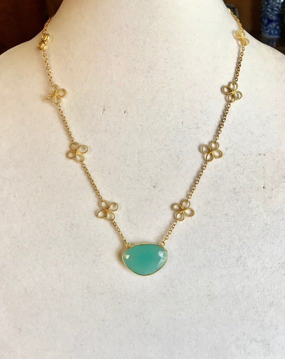 "Chalcedony Necklace, Aqua Chalcedony Bezel Pendant, Clover Flower Chain, Vermeil and 16K Gold Plate, 20, 22, 24"" Long."
