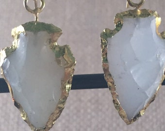 White Agate Arrowhead Hook Wire Earrings, Electroplated, Gold Vermeil