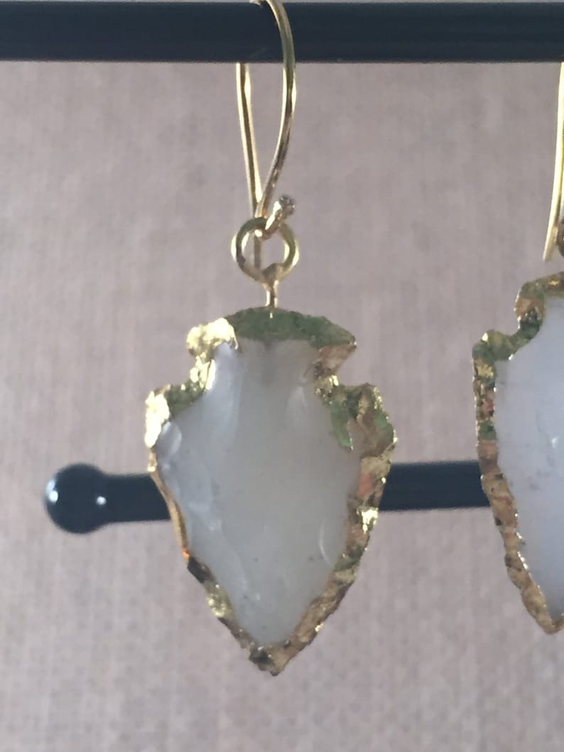 Gold Vermeil White Agate Arrowhead Hook Wire Earrings Electroplated