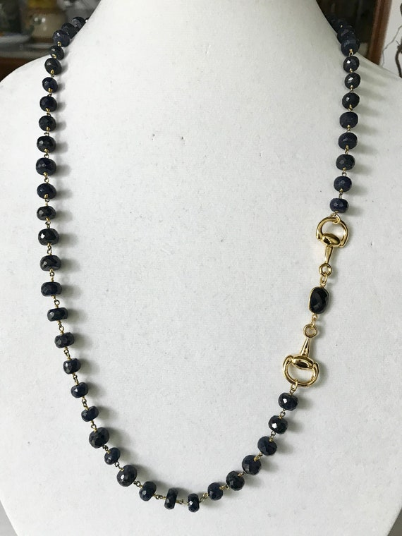 "Sapphire Beaded Necklace, Gold Snaffle Bit & Sapphire Connector, Double Wrapped , 24K Gold Plated, Toggle Clasp, 34"" Long"