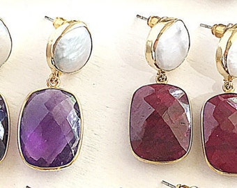 "Pearl & Gemstone Earrings, , Ruby ,Onyx, Emerald, Amethyst, Sapphire, Lapis Lazuli, 22K gold plated, 1.25"" length"