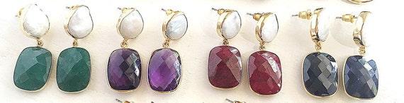 "Pearl & Gemstone Earrings, , Ruby ,Onyx, Emerald, Amethyst, Sapphire, Lapis Lazuli, 22K gold plated, 1.25"" length"