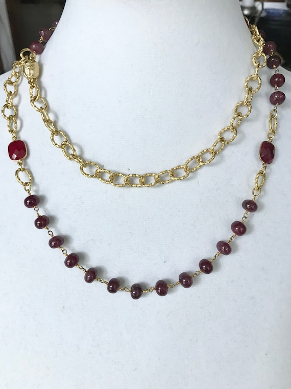 "Ruby Necklace, Ruby and Gold Texture Chain Necklace, Long Necklace, Double Wraped Necklace, 24K Gold Plated, Gold Magnet Clasp, 40"" Long"