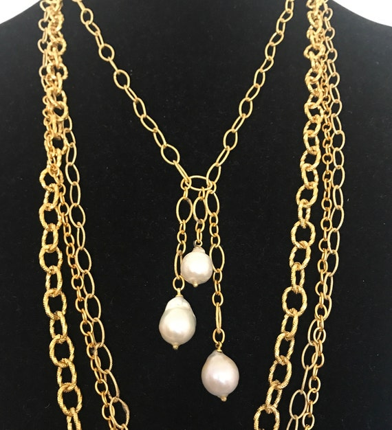 "Pearl Pendant Necklace, Drop Pearl Necklace, Baroque Pearl Necklace, Gold/Sterling Silver, 20"" , 22"", 24"", 26"" Long"