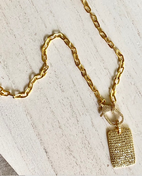 Pave Pendant Necklace, Tag Pendant, Pave Lobster Clasp, Gold Link Chain. Lenght 18""