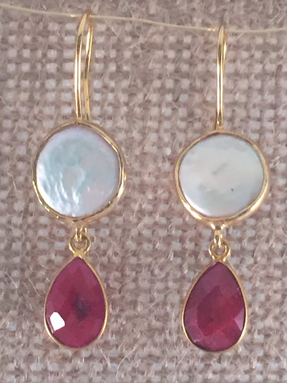 Pearl round shape with Ruby pear shape Earrings, Two gem stone earring, hook wire, gold/sterling silver, gold plated