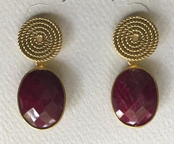 """Ruby Earrings, Ruby & Gold Post Earrings, Post Earrings, Gold Plated/Brass,24K Gold Plated Bezel,  925 Sterling Silver Backs, 1.25"""" Long"""