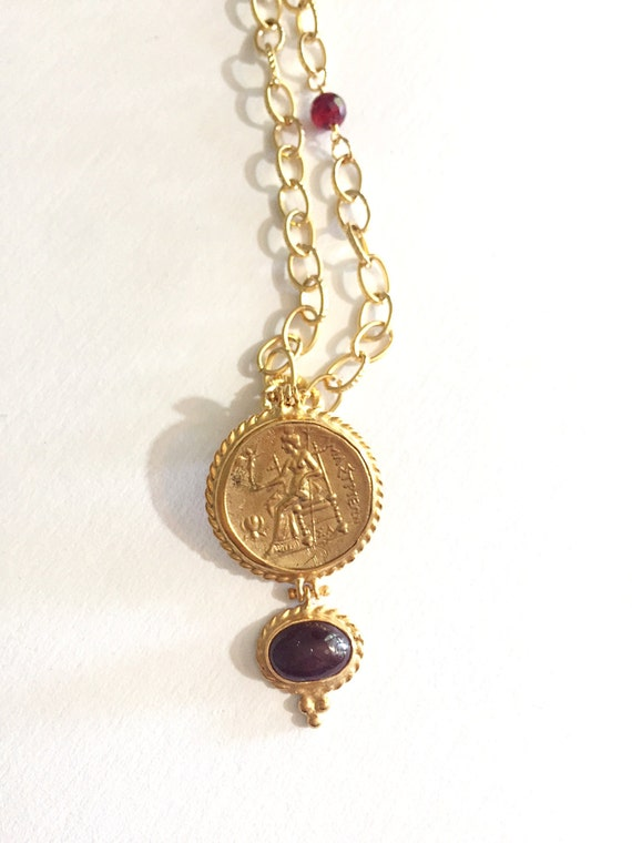 "Coin and Ruby Pendant Necklace, Oval Texture Link Chain, Gold Vermeil Pendant and Ruby Bead, Double Wrap necklace, Long Necklace, 43"" Long"