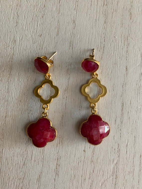 Ruby Earrings with Gold Shape Clover Charms, 22K Gold Plate, Post Earrings, 2 Inches Lenght, Statement Earrings .