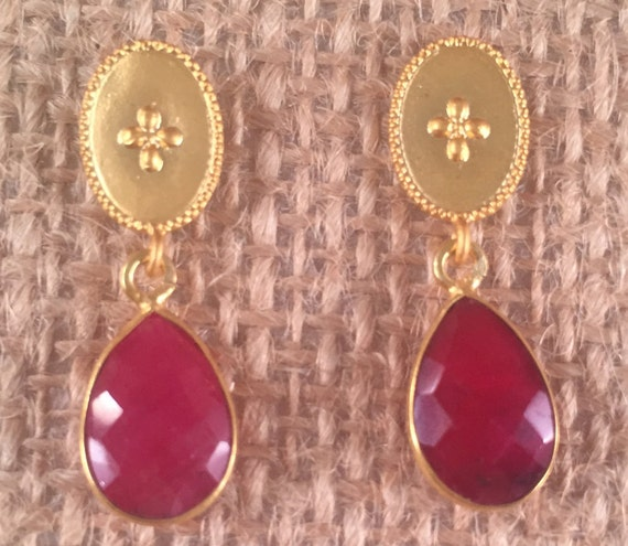 Ruby Earring with Gold Oval Post. 1 inch total length