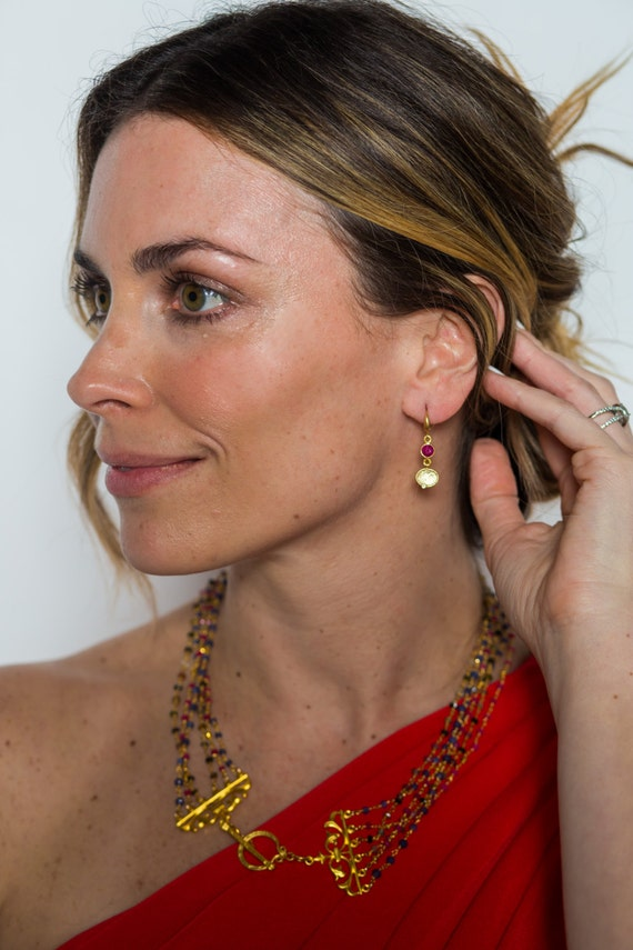 Ruby Earrings and gold coin shape Charms with CZ Hook wire , 22k gold plate