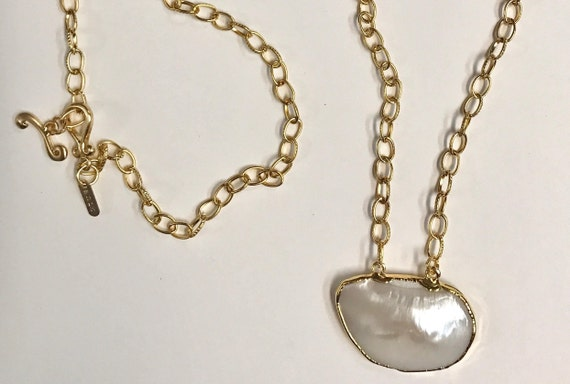 "Mother Pearl Necklace,Texturized Gold Link Chain with Bezel Mother Pearl Pendant, 22K Gold Plated/Brass, Double Wrap Necklace, 38"" Long"