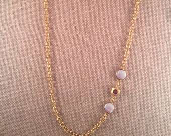 Gold Rolo Necklace , 2 Fresh water Pearl , Ruby and gold flower bead, , 22k gold plated, 32.5  inch length (82.55 cm)