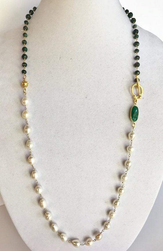 "Pearl and Emerald Necklace, Freshwater Baroque Pearl , Long Necklace, Wrapped Necklace, Bezel Emerald Connector, Toggle Clasp, 35"" Long"