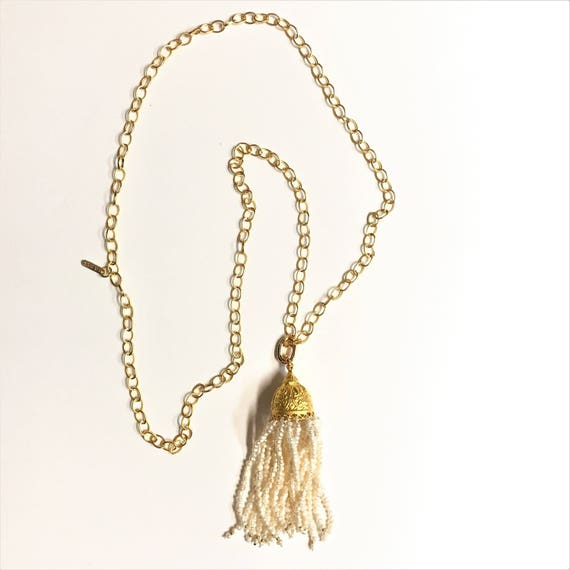 "TASSEL NECKLACE, PEARL Tassel, 24K Gold Plated Rollo Link Chain, Tassel Necklace, Removable Pendant Clasp, Double Wrap necklace, 42"" Long"