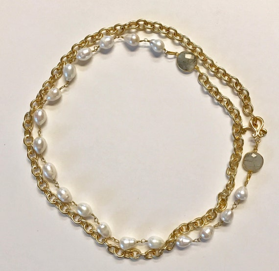 "Pearl Necklace, Baroque White Pearl and Gold Texture Link Necklace, bezel Rutile Connectors, Double Wrap, Gold Plated Toggle Clasp, 44"" Long"