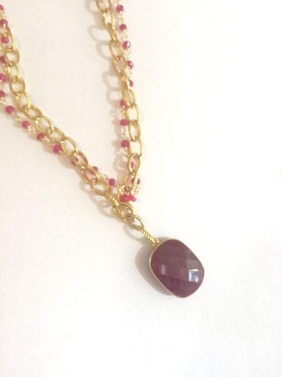 "Ruby Pendant Gold Necklace and Ruby Beaded Chain Necklace with Large RUBY Bezel Octagon Pendant, 38"" Total Length"