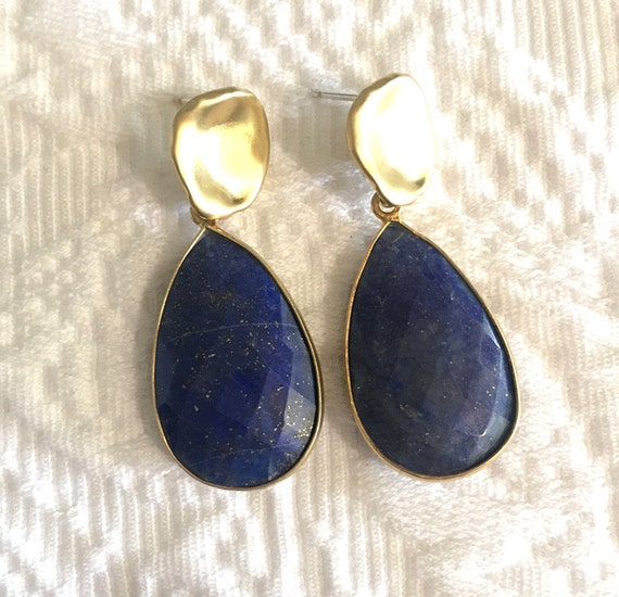 "Lapis Lazuli Earrings, Tear Drop Earrings, Gold Post Earrings, Dangle Earrings,1.5"" Total Length"