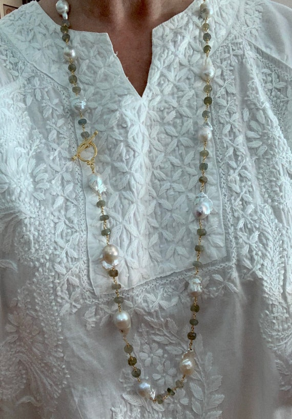 Long Baroque Pearl & Labradorite Necklace. Double Wrap Necklace