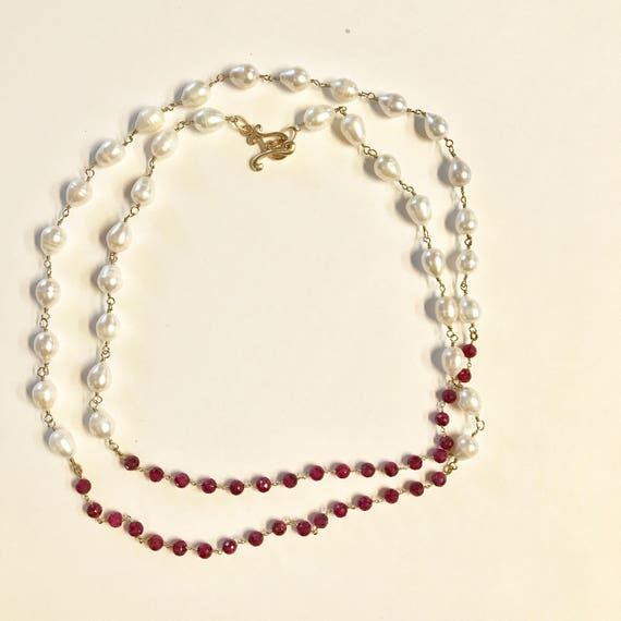 "Pearl necklace, Baroque White Pearl and Ruby Beaded Necklace, Double Wrap, 22K Gold PlatedToggle Clasp, 45"" Long"
