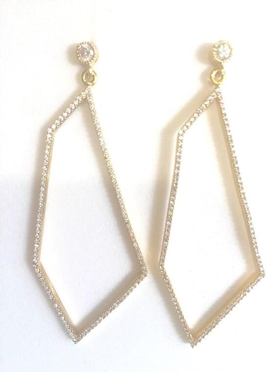 "Pave Diamond CZ Earrings, Post Earrings, Quadrilateral Shape, Gold Vermeil Long Earrings, 58"" Total Length"