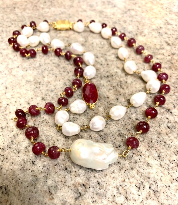Pearl and Ruby Double Layer Necklace