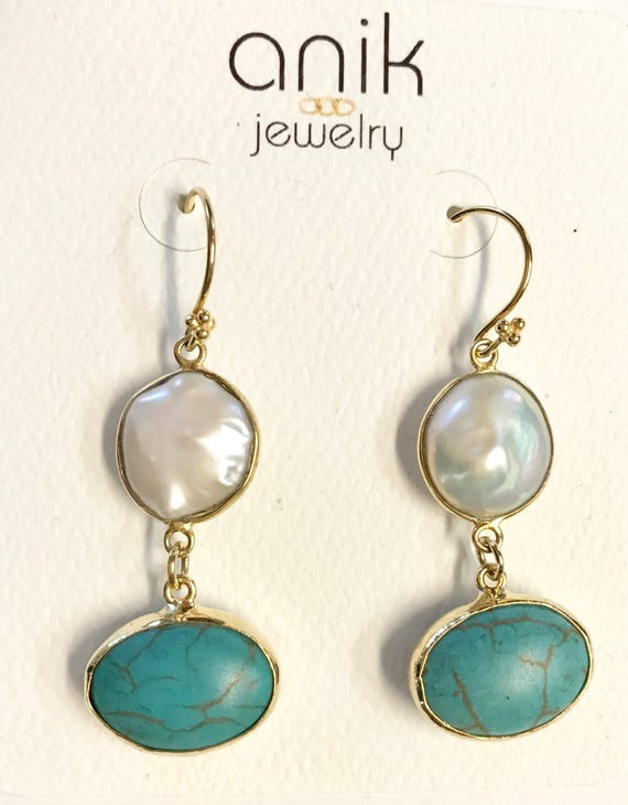 "Pearl and Turquoise Earrings, Oval Shape Turquoises, Hook Earrings,14K Gold Plated, 2"" Long"