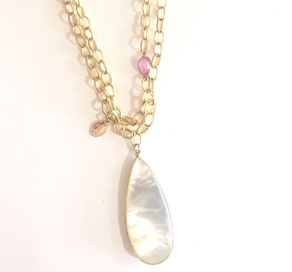 "Mother Pearl Gold Link Necklace with Pink Tourmaline Connector Tear Drop Shape Mother Pearl, Double Wrap necklace, S Clasps, 42"" length"