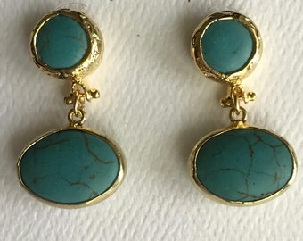 "Turquoise Earrings, Turquoise Gold Bezel Connector Post, Gold Plated, 1"" Long"