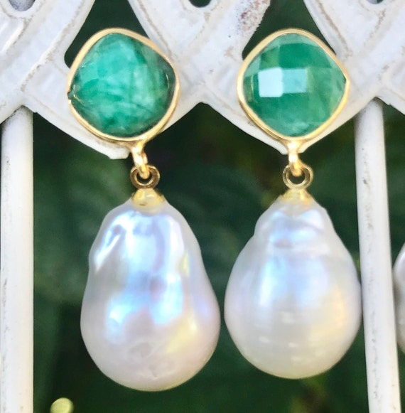 "Pearl & Emerald earrings, Baroque Pearls, vermeil, 1.25"" long"