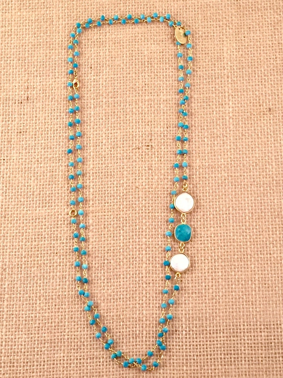 "Rosary Beaded Turquoise Necklace-Turquoise & Baroque Freshwater Pearl gemstones -22K Goldplated-42"" long-Double Wrap-Layer-HOLBOX II"