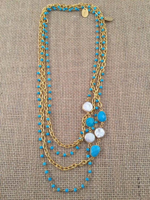 "Rosary Beaded Turquoise Necklace-Turquoise & Baroque Freashwater Pearl gemstones -22K Goldplated-42"" long-Double Wrap-Layer-HOLBOX II"