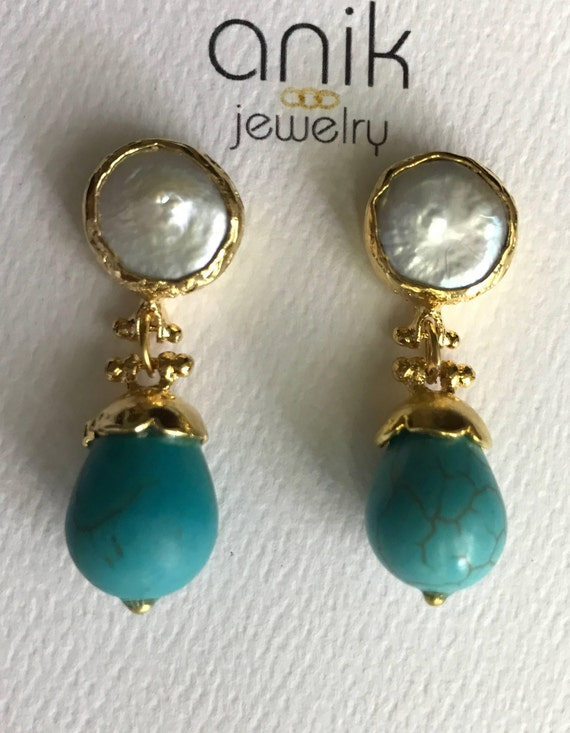 "Pearl and Turquoise Earrings, Bezel Keshi Pearls Setting, 14K Gold Plated, 1.5"" Long"