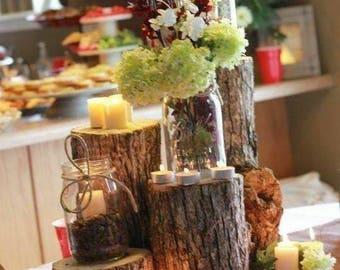 Set of 5 Oak stump displays