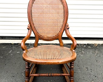 Antique Wood Carved And Cane Rocking Chair Small Rocking Chair Childu0027s Rocking  Chair Cane Chair Vintage Cane Chair