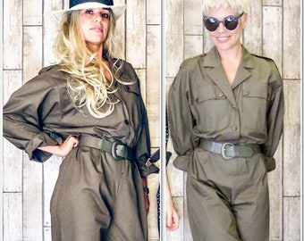 80's vintage Army Style Green Long Sleeve Jumpsuit Playsuit, S