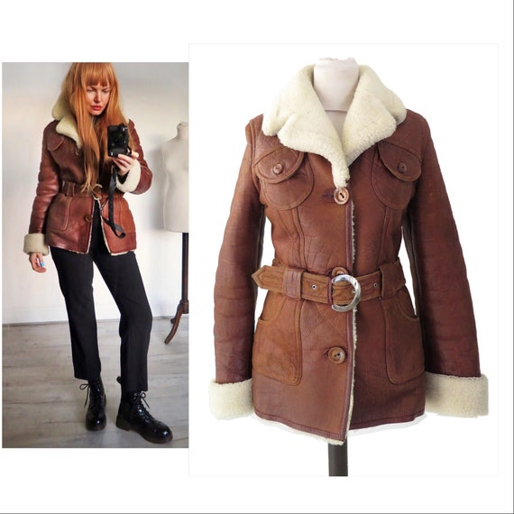 Cognac Brown Fitted Real Sheepskin Shearling Distr