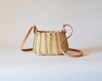 Small white wicker bag for women