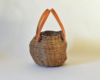 Wicker handbag, eccentric shape