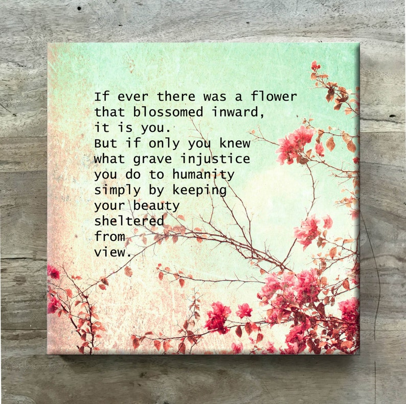 Flower Canvas Quote / Typewriter Font/ Word Art / Wall Art / Love Quote /  12X12