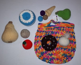 #3, ready-to-go, crochet foods, toys, peluches, Like Dad, Like Mom, Little Kitchen, Grocery