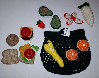 #2 Food Bag, Ready-to-Go, Crochet Foods, Toys, Peluches, Like Dad, Like Mom, Little Kitchen, Grocery