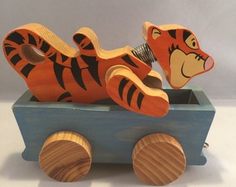 Vintage Disney Wooden Tigger Pull Toy - Mint