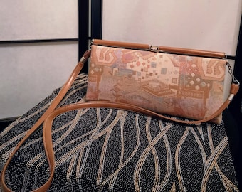 97b4d444f3 80s Vintage Aldo Purse Tapestry Fabric with Leather Accents and Shoulder  Strap Crossbody ALDO