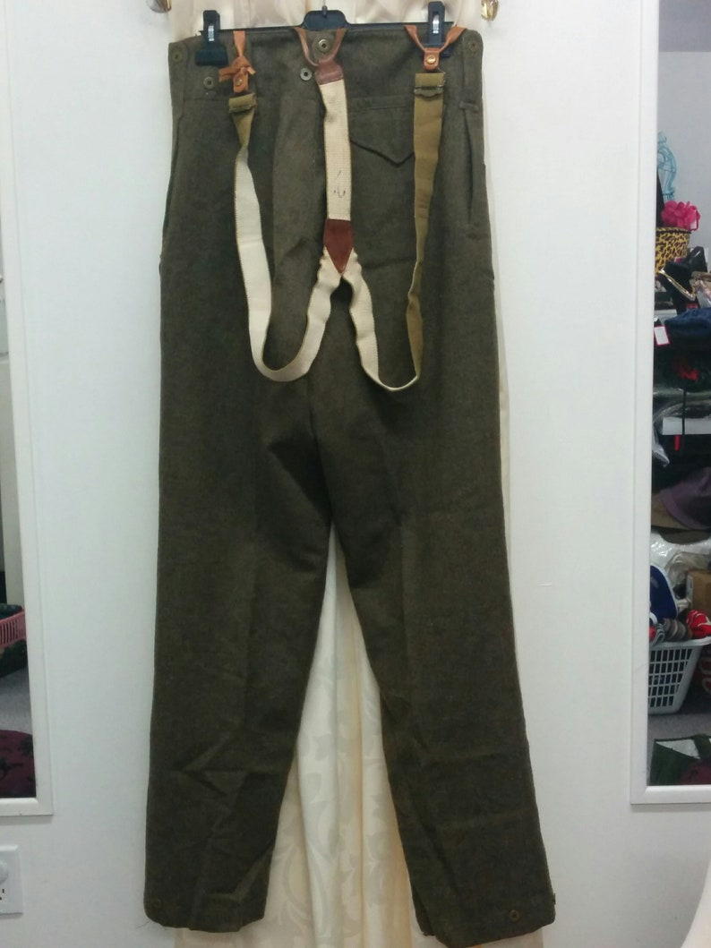 World War 2 Army Surplus Wool Men's Trousers/ Suspenders/green