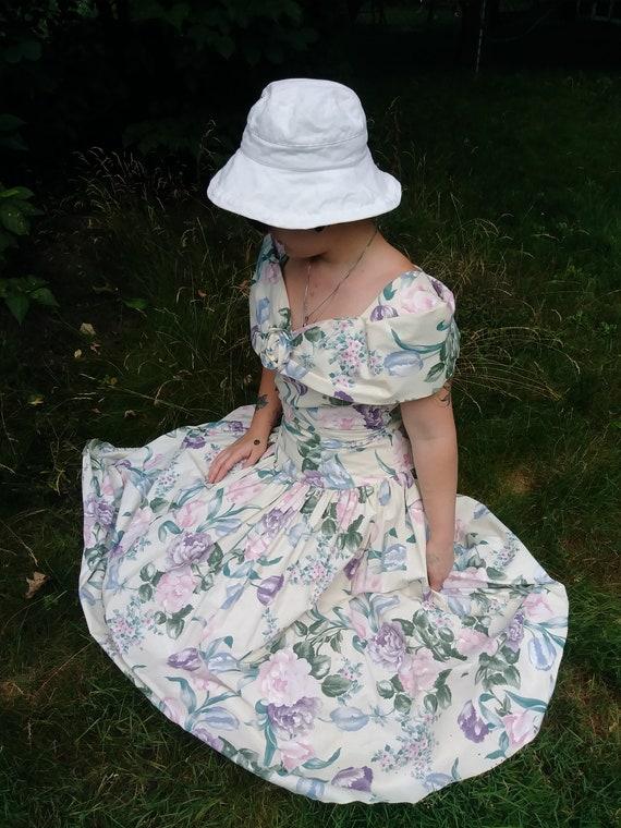 Vintage 1980's Garden Tea Party Dress by Algo-Ette
